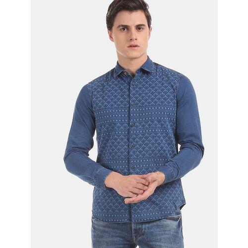 True Blue blue printed casual shirt
