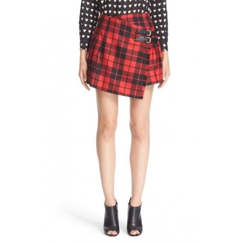 2df08ed35 Buy Burberry red & Black Checked Leather Wool Skirt online | Looksgud.in