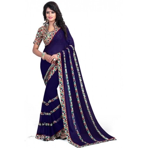 Oomph! Navy Blue Floral Print Fashion Chiffon Saree