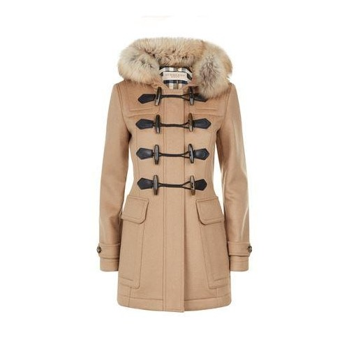 Buy Burberry New Camel Color Fur Trim Wool Duffle Coat online
