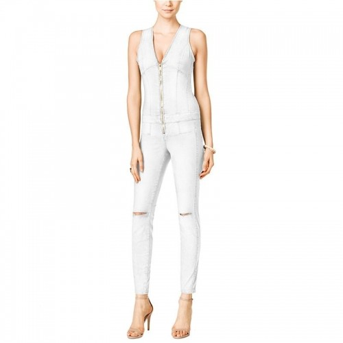 ae6da295757 Buy Guess White   Olive Maxine Ripped Zip Up Denim Jumpsuit online ...