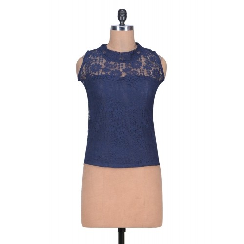 Mayra Navy Blue Net Sleevless Top