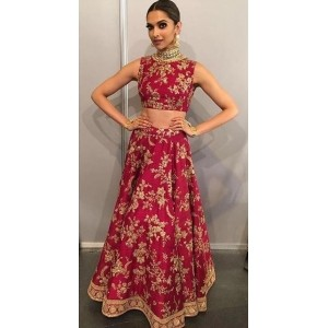 Red Georgette Embroidered Lehenga