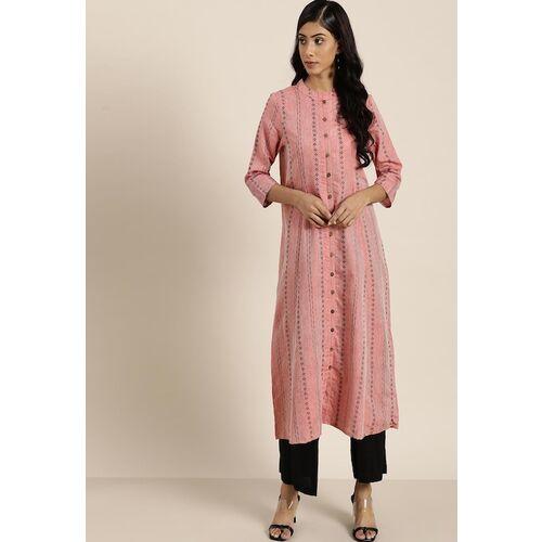 Moda Rapido Women Pink & Black Cotton Ethnic Motifs Printed Kurta