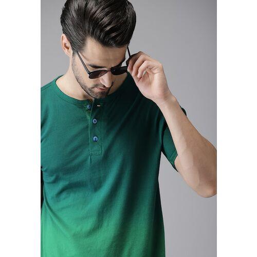 Campus Sutra Men Green Dyed Henley Neck T-shirt