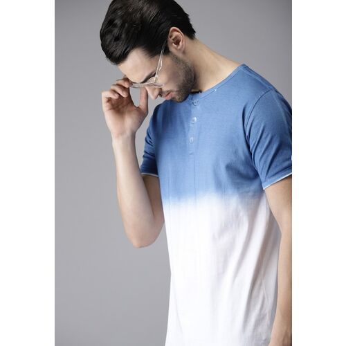 Campus Sutra Men Blue & White Ombre-Dyed Henley Neck T-shirt
