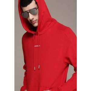 Calvin Klein Jeans Men Red Brand Logo Printed Hooded Sweatshirt