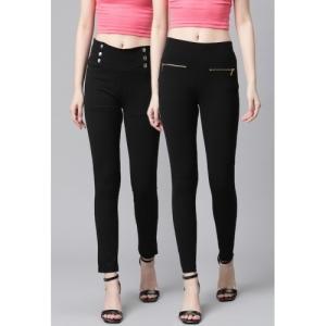 Tulsattva Pack Of 2 Black Solid Slim Fit Jeggings