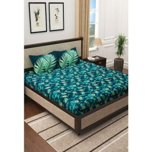 Story@home Story home Teal Blue & Yellow Floral 300 TC King Bedsheet with 2 Pillow Covers