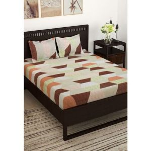 Story@home Cream-Coloured Geometric 152 TC Cotton 1 Queen Bedsheet with 2 Pillow Covers