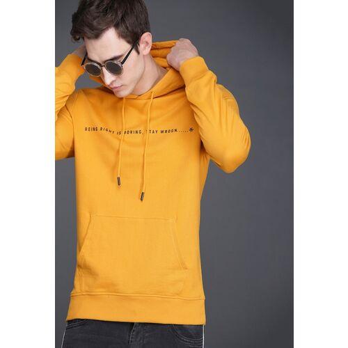 WROGN Men Mustard Yellow Slim Fit Solid Hooded Sweatshirt