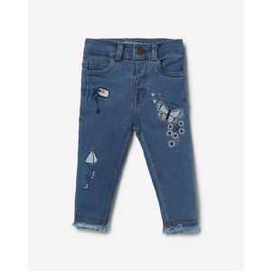 Embroidered Lightly Washed Jeans