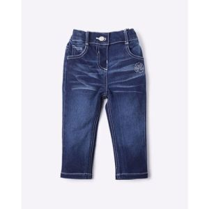 Washed Relaxed Fit Jeans with Embellishments