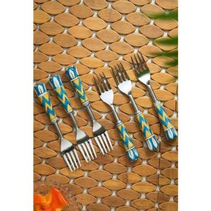 ExclusiveLane Silver-Toned 6-Pieces Mughal Paich Daar Hand-Painted Forks Set