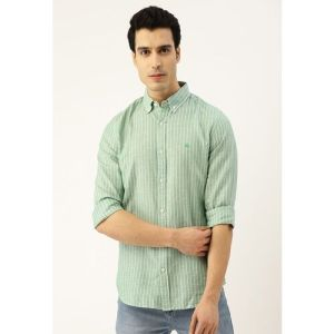 Top Notch United Colors of Benetton Men Green & White Slim Fit Striped Casual Shirt