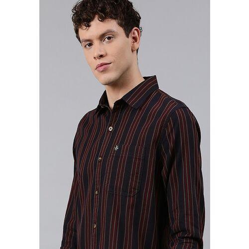 WROGN Men Navy Blue & Maroon Slim Fit Striped Casual Shirt