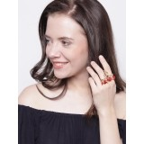Tribe Amrapali Red 18K Gold-Plated Crista Knuckle Ring with Swarovski Stones