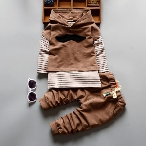HQB Brown Striped T-Shirt With Hoodie And Pant Set
