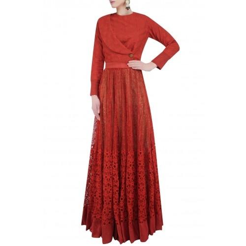 Buy Rust Self Color Embroidered Lehenga Skirt By Chandrani Siingh