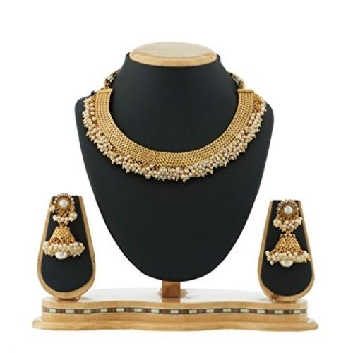 Satyam Jewellery Nx Pearl Necklace With Jhumka Earring