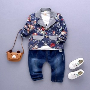 YXN Trendy Boys Gray T-Shirt With Jacket And Pant Set
