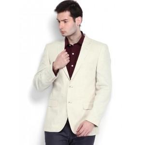 Arrow Men Beige Single-Breasted Body Tailored Fit Linen Sports Blazer