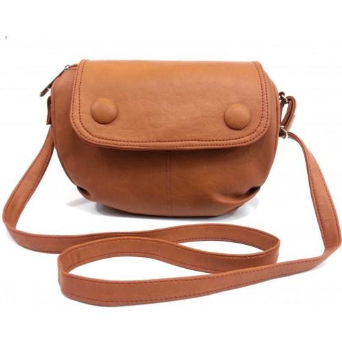 Leather Land Brown Leatherette Solid Sling Bag