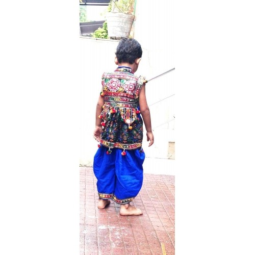 Aglare Blue & Black Navatri Garba Dress for Baby Boys