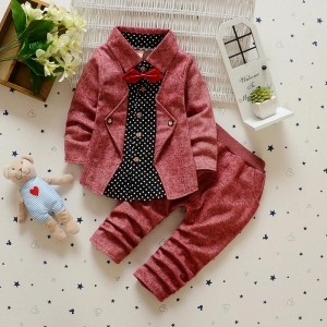 HQB Maroon Stylish Blazer Style Shirt With Bow And Pant Set