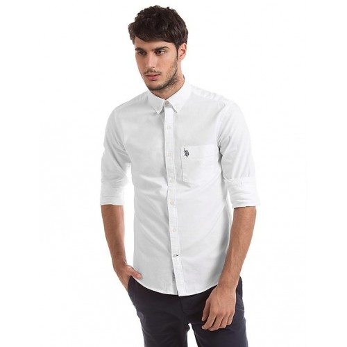 3b9fe3a4ff997 White Tailored-Fit Casual Shirt  U.S. POLO ASSN. White Tailored-Fit Casual  Shirt ...