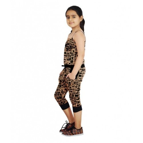 Naughty Ninos Black & Brown Cotton Printed Jumpsuit
