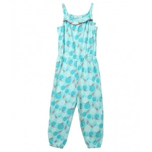 Beebay Turquoise Cotton Printed Jumpsuit For Girls