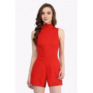 Miss Chase Red Cotton Solid playsuit