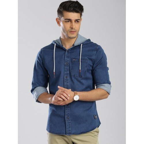 eb89dcf237 Buy Tommy Hilfiger Blue Denim Hooded Casual Shirt online ...