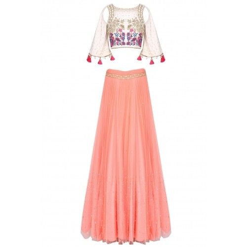 aa572fce02c12 ... Ivory shoulder cut out embroidered crop top with rose pink skirt by MONIKA  NIDHII ...