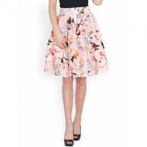 Sassafras Pink Silk Flared Printed Skirt