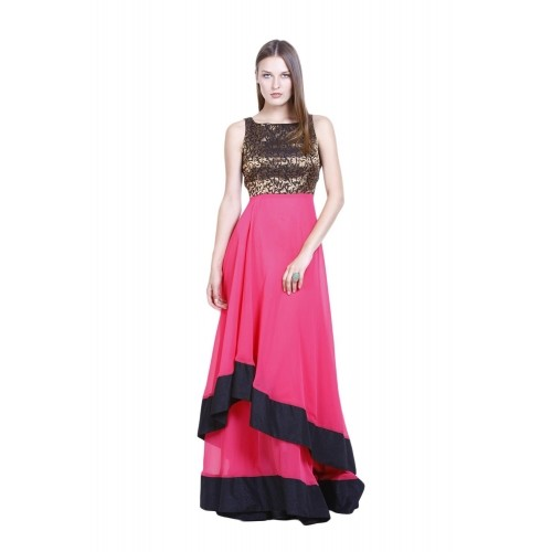 ... Drapes and Silhouettes Pink Georgette Double Layer Gown With Brocade  Bodice ... 68bd135f8