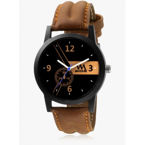Watch Me Black/Brown Leather Analog Watch