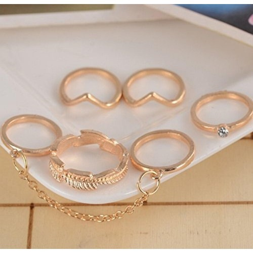 Cinderella Collection By Shining Diva Gold Metal Set Of 5 Mid Finger For Girls