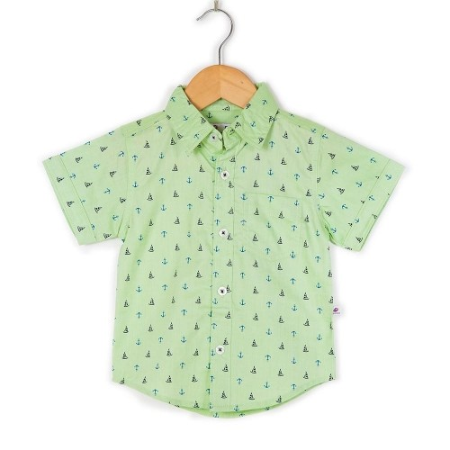 Coo Coo Mint Cotton Printed Shirt