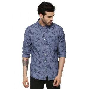 Flying Machine Blue Floral Printed Casual Shirt
