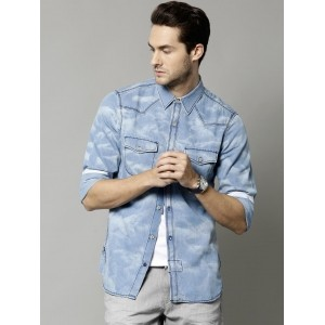 French Connection Men's Blue Washed Denim Shirt