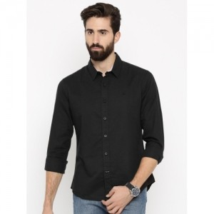 United Colors of Benetton Black Linen Casual Shirt