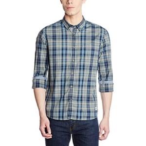 Flying Machine Men's Green Checkered Casual Shirt