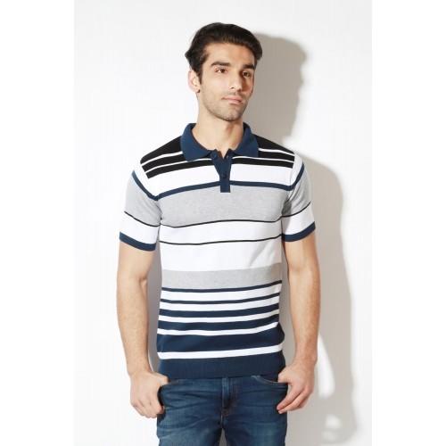 a5777e40 Buy Van Heusen White Cotton Striped Slim Fit Polo T-shirt online ...