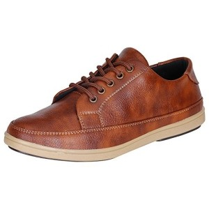 Kraasa Brown Patent Leather Lace Up Casual Shoes