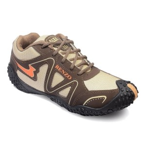 Rockfield Brown & Beige Synthetic Leather Sports Shoes