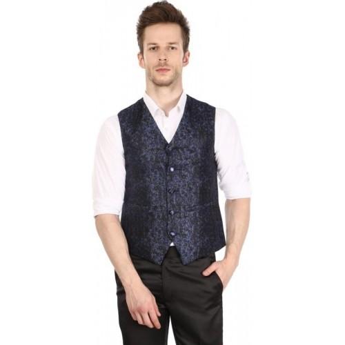 Platinum Studio Blue & Black Self Design Men's Waistcoat
