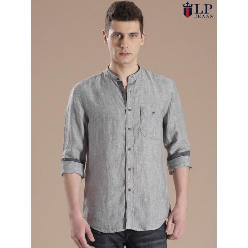 0a53208c131 Buy Louis Philippe Grey Cotton Union Slim Fit Casual Shirt online ...
