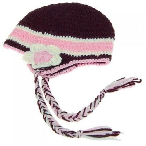 e42306b0913 ... Generic Brown Wool Crochet Beanie Kids Hat with Earflaps   Braids ...